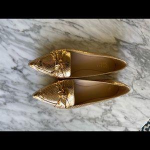 Franco Sarto 8.5 metallic gold snakeskin loafers